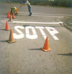 New sign painted near Canadian school, after a study revealed FD students were failing to stop at stop signs because they think stop is spelled s-o-p-t
