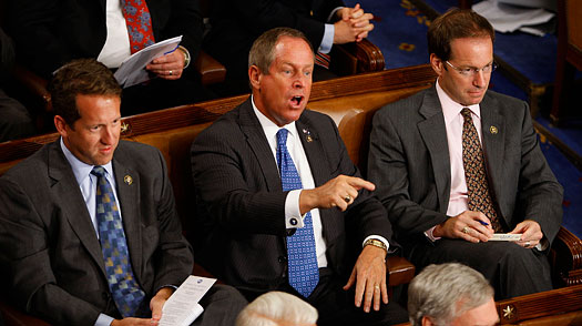 "Rep. Joe Wilson seen here telling Grassley ""I do have the balls!! Just watch me!!"""