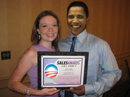"Telemarketing company, Telennoy Corp., named Obama best ""closer"" for the month of September, and gave him next Saturday off."