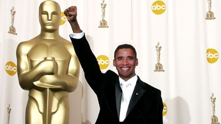 The Acadamy Awards honored Obama by giving him the biggest Oscar trophy ever made.