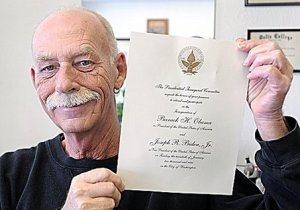 General Bressler displays the hand written invitation he received to attend the Afghanistan Resolution mixer.