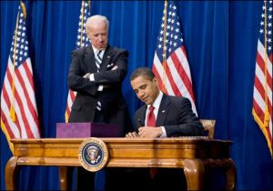 (COMING INTO HIS OWN) Aug. 14- Biden watches in amazement as Obama shows him all the different styles he's learned.