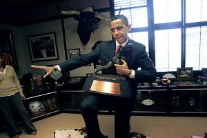 "The Prez striking the ""Heisman"" pose with his trophy in one of the White House's many trophy rooms."